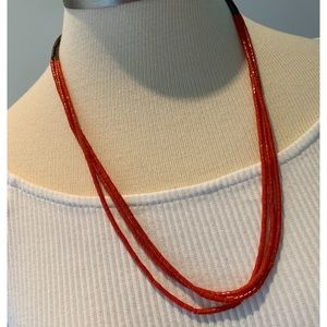 Coral and Brown Beaded  Necklace